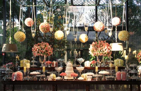 mesa de doces casamento rosa