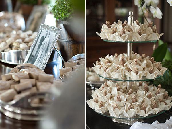 doces de casamento bege branco