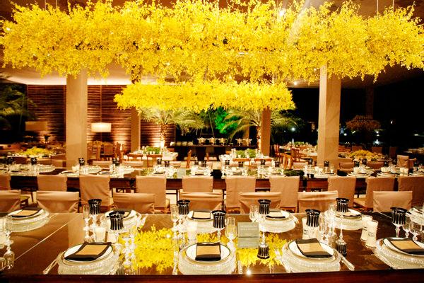 decoração casamento amarelo orquídeas