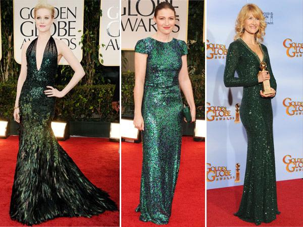 vestidos globo de ouro 2012 verdes