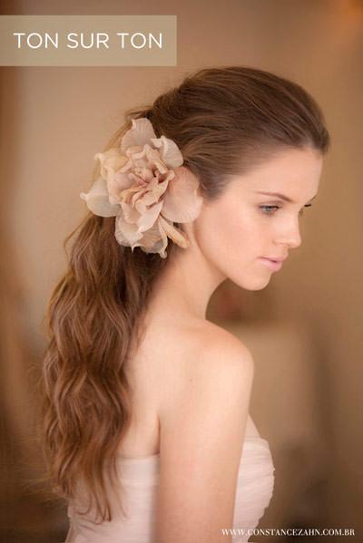 flor de tecido cabelo noiva