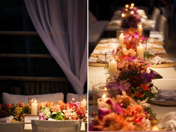 mesa comunitária casamento arranjo guirlanda