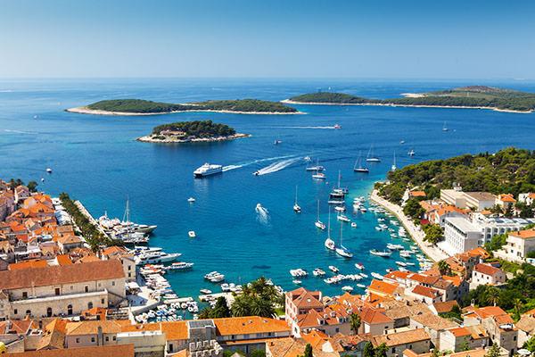 Beautiful view of harbor in Hvar town, Croatia