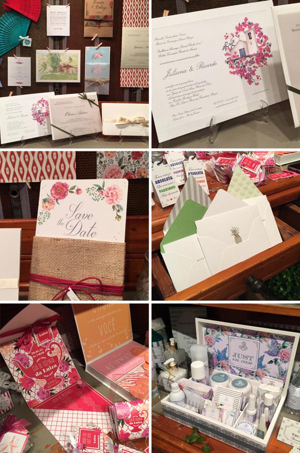 A Dupla Ideia levou vários modelos de convites, save the dates, kits toilettes, cartões de agradecimento...