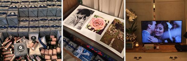 O G Junior distribuiu produtinhos de beleza para as noivas em caixinhas personalizadas; o fotógrafo de moda Yuri Sardenberg apresentou seu trabalho em casamentos; e a V Rebel levou seus lindos vídeos de casamento