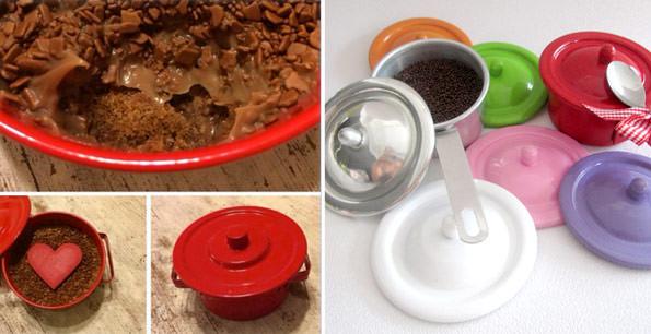 Brigadeiro na panelinha vermelha: Sweet Shot | Brigadeiro em panelinhas coloridas: Fabiana d'Angelo