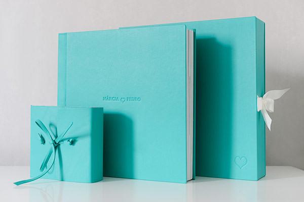 Álbum de casamento + mini álbum em azul Tiffany (Rejane Wolff)