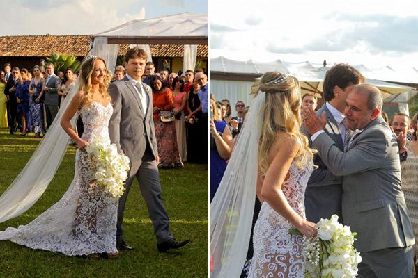 O padrasto da noiva Marina Canabrava levou-a até a nave, onde entregou-a ao pai.