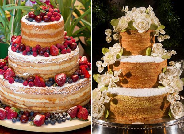 Naked cake e bolo de rolo