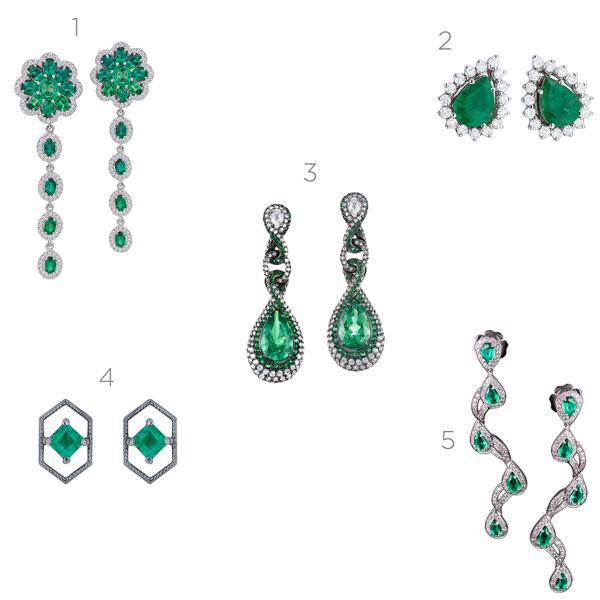 5 brincos de esmeralda para madrinhas e convidadas