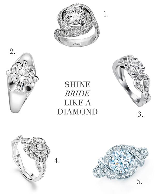 5 anéis de noivado poderosos em diferentes estilos