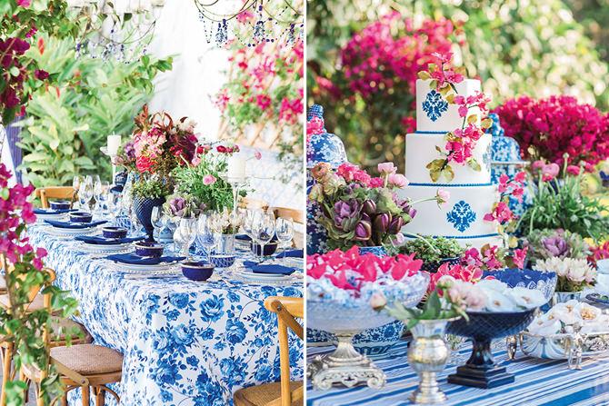 Decoração de casamento inspirada na Grécia em azul e branco