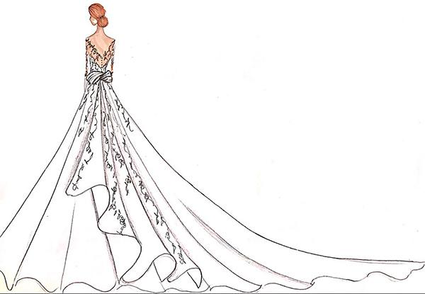 Croqui Maison : Estilistas desenham vestidos de noiva para meghan markle