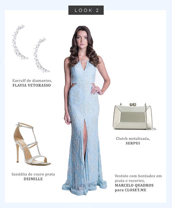 Sandalia para usar com vestido azul claro